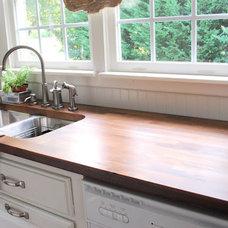 Traditional Kitchen undermount sink butcher block counter