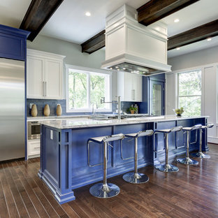 Mid-sized contemporary open concept kitchen appliance - Inspiration for a mid-sized contemporary galley dark wood floor open concept kitchen remodel in DC Metro with a farmhouse sink, shaker cabinets, blue cabinets, marble countertops and stainless steel appliances