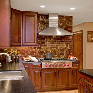 pictures of kitchens with cherry cabinets onyx backsplash houzz 9117