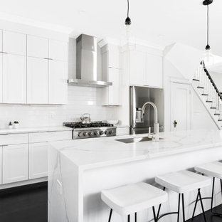 Mid-sized contemporary kitchen pictures - Inspiration for a mid-sized contemporary single-wall kitchen remodel in New York