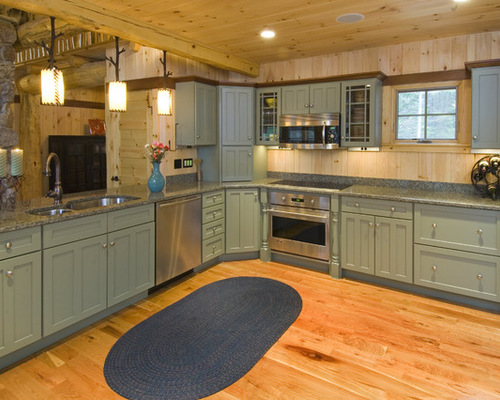 Sage kitchen cabinets houzz for Brushed sage kitchen cabinets