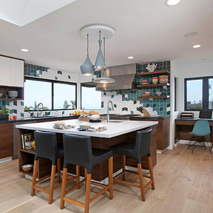 contemporary kitchen photos example of a trendy u shaped medium tone wood floor and - Contemporary Kitchen Ideas