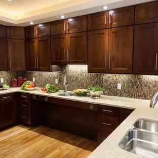 ワシントンD.C.の中サイズのトランジショナルスタイルのおしゃれなキッチン (ダブルシンク、シェーカースタイル扉のキャビネット、中間色木目調キャビネット、クオーツストーンカウンター、茶色いキッチンパネル、セラミックタイルのキッチンパネル、シルバーの調理設備の、淡色無垢フローリング) の写真