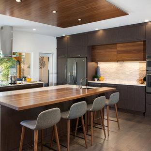 Large Contemporary Kitchen Designs U Shaped Medium Tone Wood Floor