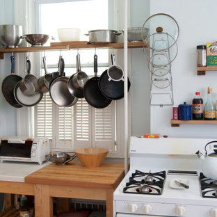 Eclectic kitchen photo in Other with white appliances and wood countertops