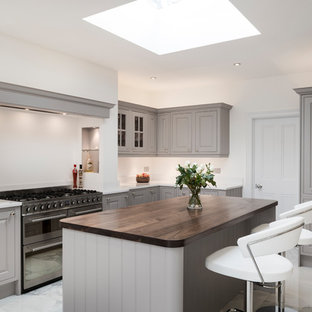 Photo of a medium sized traditional u-shaped open plan kitchen in Other with grey cabinets, quartz worktops, stainless steel appliances, an island, white worktops and marble flooring.