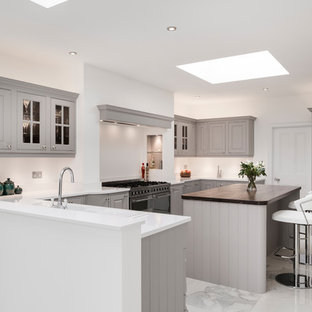 This is an example of a medium sized traditional u-shaped open plan kitchen in Other with grey cabinets, quartz worktops, stainless steel appliances, marble flooring, an island and white worktops.