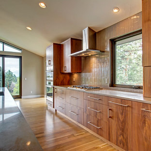 Inspiration for a large contemporary galley kitchen pantry in Denver with a submerged sink, flat-panel cabinets, medium wood cabinets, granite worktops, beige splashback, ceramic splashback, stainless steel appliances, light hardwood flooring, an island and brown floors.