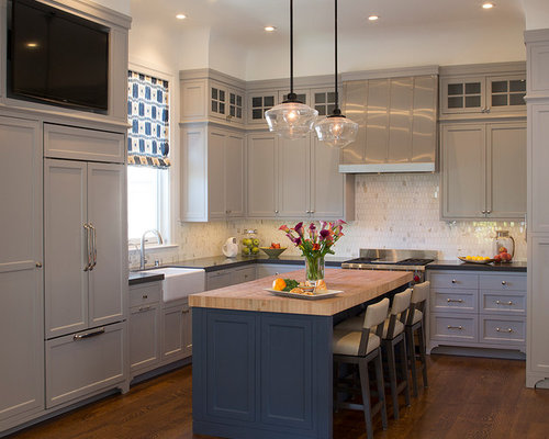 Blue Gray Kitchen Houzz