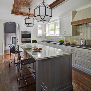 Mid-sized transitional enclosed kitchen appliance - Enclosed kitchen - mid-sized transitional u-shaped dark wood floor enclosed kitchen idea in Chicago with white cabinets, beige backsplash, an island, an undermount sink, shaker cabinets, subway tile backsplash, granite countertops and paneled appliances