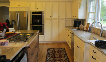Upscale Softwhite Kitchen with Stained Wood Island