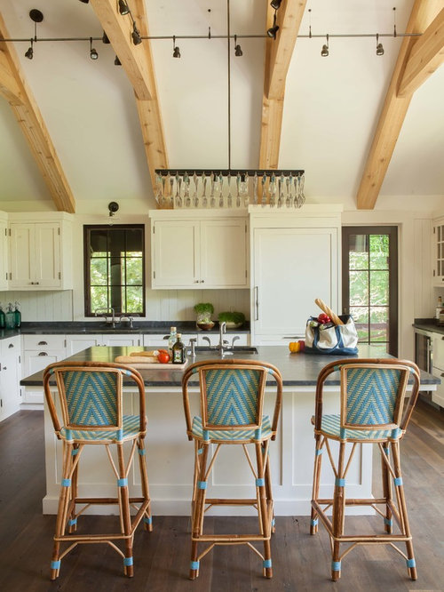 Inspiration For A Rustic Kitchen Remodel In New York With Recessed Panel  Cabinets, White