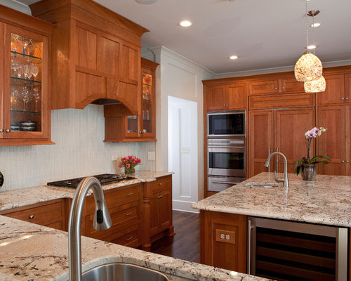cherry cabinet with granite | houzz