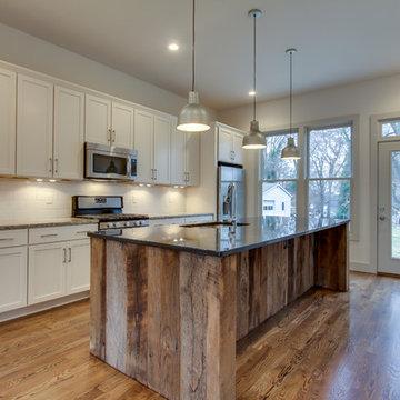 Urban Farmhouse Kitchen with Reclaimed Wood Clad Island