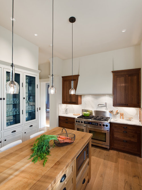 Inspiration For A Timeless Enclosed Kitchen Remodel In Austin With  Stainless Steel Appliances, Wood Countertops