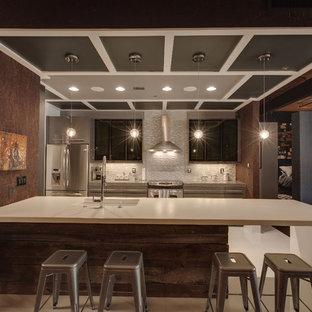 シャーロットの大きいインダストリアルスタイルのおしゃれなキッチン (アンダーカウンターシンク、フラットパネル扉のキャビネット、グレーのキャビネット、クオーツストーンカウンター、メタリックのキッチンパネル、ボーダータイルのキッチンパネル、シルバーの調理設備の、リノリウムの床、白い床) の写真