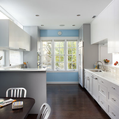 Example of an eclectic kitchen design in San Francisco with shaker cabinets