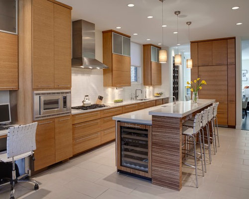 Example Of A Trendy Galley Kitchen Design In Chicago With An Undermount  Sink, Flat