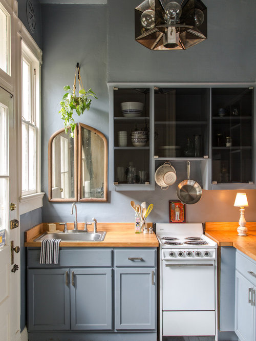 Kitchen   Small Traditional L Shaped Kitchen Idea In New Orleans With A  Drop