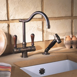Herbeau - Herbeau Valence Faucet in Copper & Brass - Herbeau Valence single hole mixer with handspray in Weathered Copper and Brass. Wooden or ceramic handles.