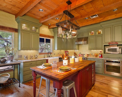 Shaped Kitchen Design Ideas, Remodels & Photos with Green Cabinets ...