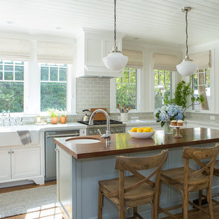 Santa Barbara Clear All Mid Sized Beach Style Eat In Kitchen Remodeling
