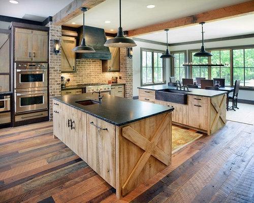 Rustic Kitchen with Red Backsplash Design Ideas & Remodel ...