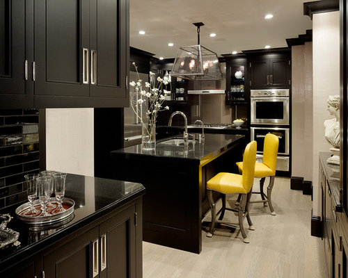 kitchen ideas black. Transitional enclosed kitchen ideas  Enclosed transitional idea in San Francisco with Cream And Black Kitchen Ideas Photos Houzz