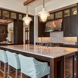 75 Most Popular Beach Style Kitchen With Dark Wood Cabinets Design