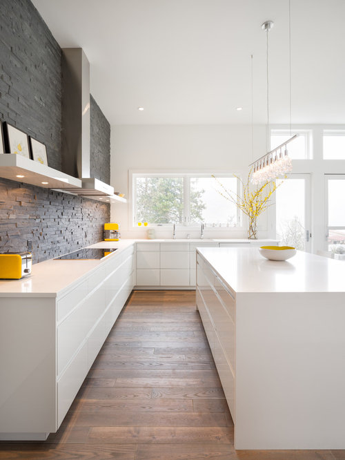 inspiration for a modern kitchen remodel in portland with flat panel cabinets white cabinets