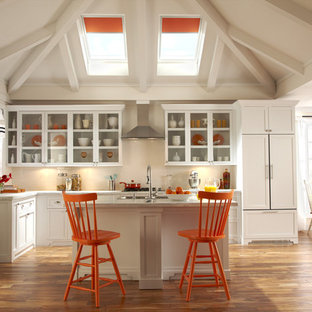 Inspiration for a contemporary kitchen remodel in Charlotte with paneled appliances