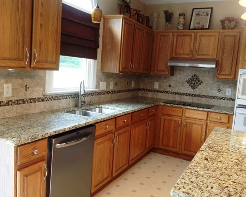 Venetian Ice Granite On Medium Colored Cabinets