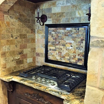 Vent hood in tuscan rustic home