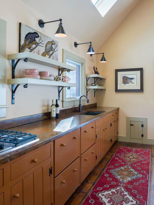 cuisine campagne avec des portes de placard oranges photos et id es d co de cuisines. Black Bedroom Furniture Sets. Home Design Ideas