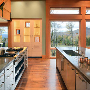 Photo of a large rustic kitchen in Other with a single-bowl sink, flat-panel cabinets, stainless steel cabinets, granite worktops, stainless steel appliances, an island and medium hardwood flooring.