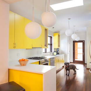 Contemporary kitchen designs - Example of a trendy l-shaped dark wood floor kitchen design in Chicago with an undermount sink, flat-panel cabinets, yellow cabinets, white backsplash, stainless steel appliances, a peninsula and white countertops