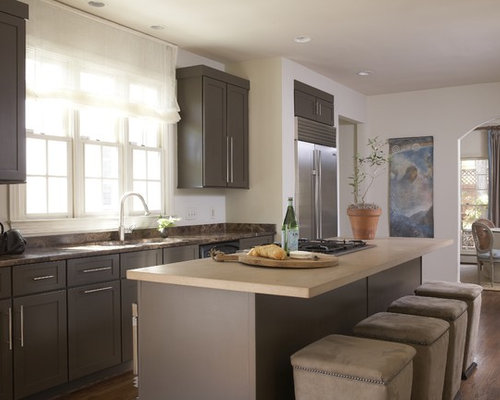 Beautiful Trendy Kitchen Photo In Birmingham With Shaker Cabinets, Gray Cabinets,  Limestone Countertops And Stainless Pictures
