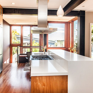 Kitchen - modern kitchen idea in San Francisco with flat-panel cabinets, medium tone wood cabinets and stainless steel appliances