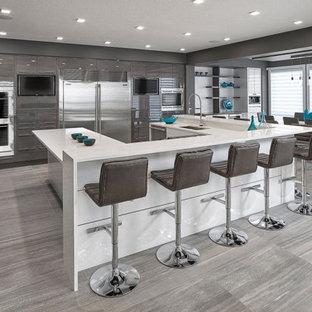 エドモントンの巨大なモダンスタイルのおしゃれなキッチン (アンダーカウンターシンク、フラットパネル扉のキャビネット、グレーのキャビネット、クオーツストーンカウンター、白いキッチンパネル、セラミックタイルのキッチンパネル、シルバーの調理設備の、磁器タイルの床) の写真
