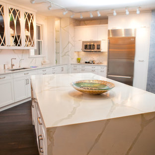 Inspiration for a contemporary kitchen remodel in Other with quartz countertops