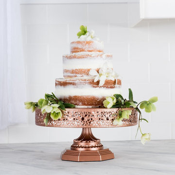 Victoria 12-Inch Rose Gold Metal Cake Stand by Amalfi Decor