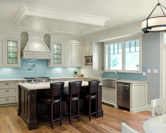 blue glass tile backsplash | houzz