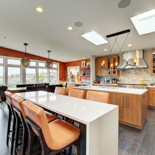 Large contemporary eat-in kitchen ideas - Example of a large trendy l-shaped dark wood floor and brown floor eat-in kitchen design in Seattle with an undermount sink, flat-panel cabinets, medium tone wood cabinets, quartzite countertops, multicolored backsplash, stainless steel appliances, two islands, white countertops and matchstick tile backsplash