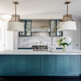 Inspiration for a transitional l-shaped separate kitchen in Sydney with an undermount sink, shaker cabinets, turquoise cabinets, white splashback, stone slab splashback, stainless steel appliances, dark hardwood floors, with island, black floor and white benchtop.