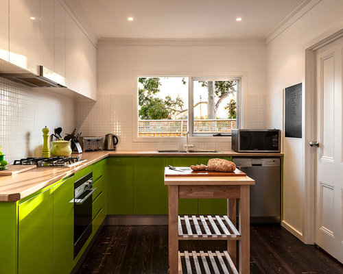 Contemporary L Shaped Separate Kitchen In Melbourne With A Drop In Sink,  Flat Part 87