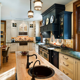 Design ideas for a victorian kitchen in Philadelphia with a farmhouse sink and green benchtop.