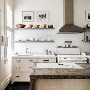サンフランシスコの中くらいのエクレクティックスタイルのおしゃれなキッチン (アンダーカウンターシンク、フラットパネル扉のキャビネット、淡色木目調キャビネット、大理石カウンター、白いキッチンパネル、セラミックタイルのキッチンパネル、シルバーの調理設備、濃色無垢フローリング) の写真