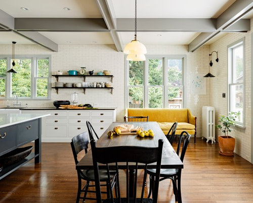 Inspiration For A Victorian Eat In Kitchen Remodel In Portland With A  Farmhouse Sink,