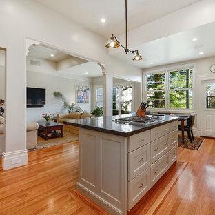 サンフランシスコの中サイズのヴィクトリアン調のおしゃれなキッチン (白いキャビネット、クオーツストーンカウンター、シルバーの調理設備の、無垢フローリング、アンダーカウンターシンク、落し込みパネル扉のキャビネット、白いキッチンパネル、茶色い床) の写真