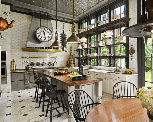 Kitchen design ideas renovations photos with white for Victorian kitchen floors